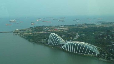 Flower Dome and Cloud Forest dome with cargo ships