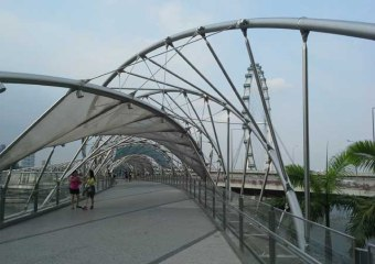 Inside the Helix Bridge with Singapore Flyer in background