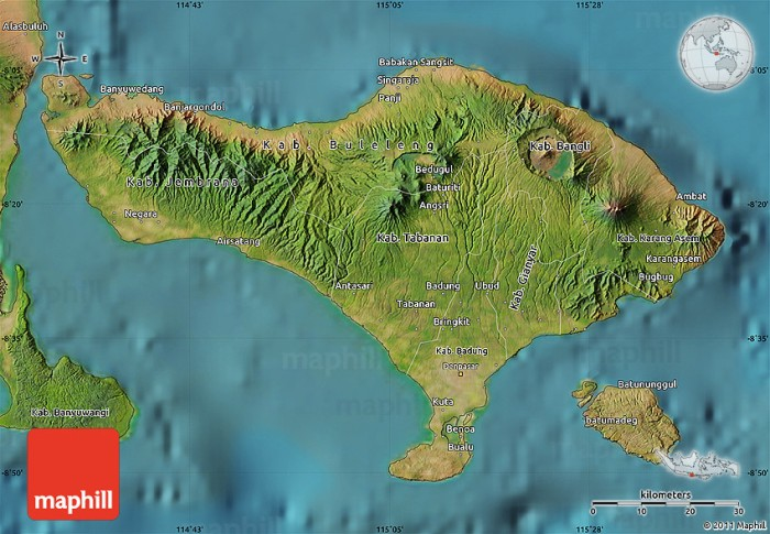 Satellite map of Bali. We traveled from Sanur east of Kuta in southern Bali over the mountains via Bedugul to NW corner and from there to the Batur crater shown in Bangli in NE